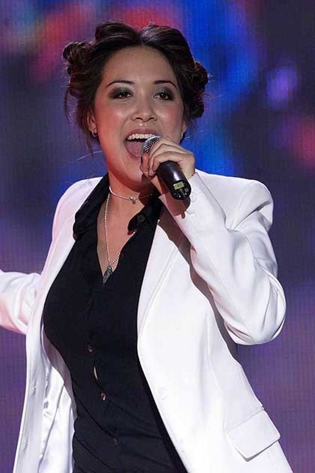 """February 2001: Myleene Klass from """"Hear'Say"""" performs on stage at BRITS at Earls Court."""