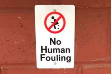 'No Human Fouling' - why one town has been forced to put up ridiculous signs on its bus stops