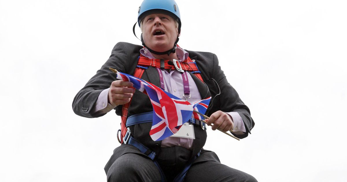 wheelchair zip wire swivel chair replacement cushions boris johnson left hanging 20ft in air after getting stuck on video mirror online