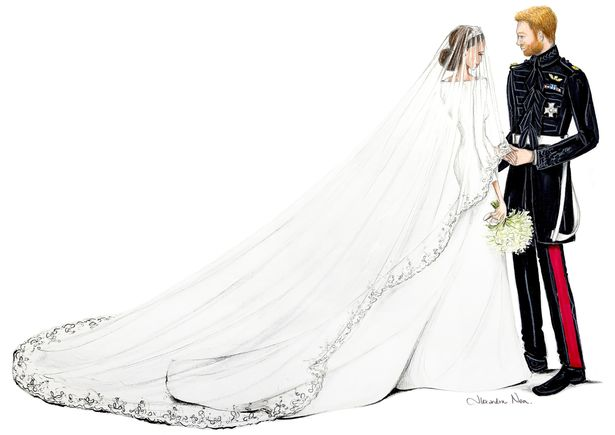 Artist's sketches of Prince Harry and Meghan Markle show