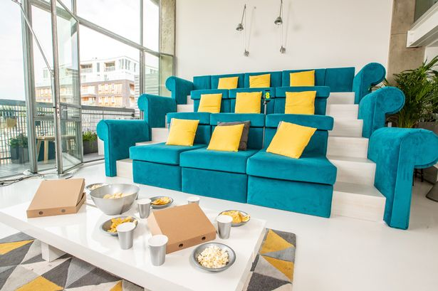 stadium seating couches living room pictures of red black and white rooms three storey sofa based on wembley designed to give sports the prototype comfortable seats nine image tom dymond ee swns com