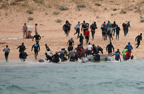 It comes after another boat of migrants arrived at Del Canuelo beach after they crossed the Strait of Gibraltar sailing from the coast of Morocco