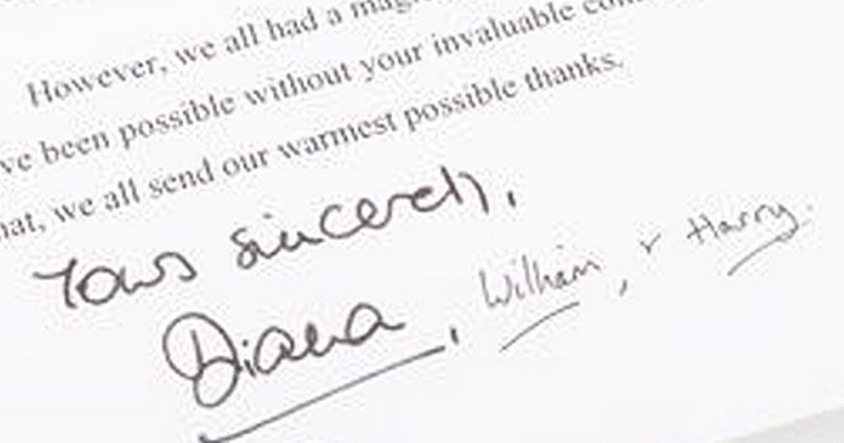 Princess Diana's charming apology letter to her bodyguard