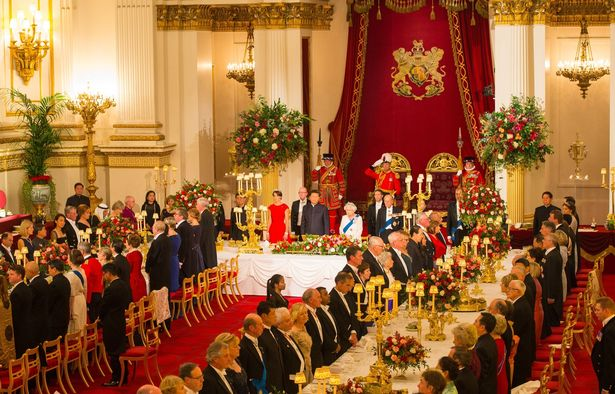 A general view of the Ballroom at Buckingham Palace, London, during a state banquet in honour of Chinese President Xi Jinping during the first day of his state visit to the UK.