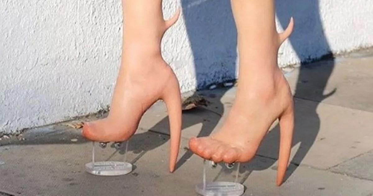 bizarre human skin heels
