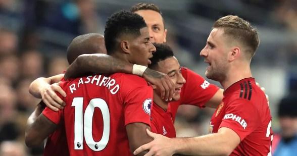 United players celebrating