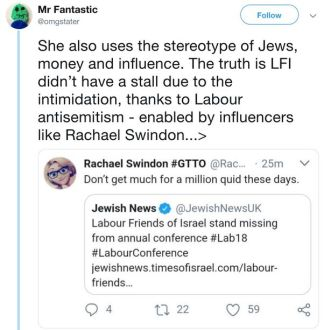 Image result for rachel swindon antisemitic tweet