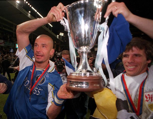 Gianluca Vialli and goalscorer Gianfranco Zola hold the trophy after Chelsea won the European Cup Winners' Cup by defeating Stuttgart 1-0 in 1998