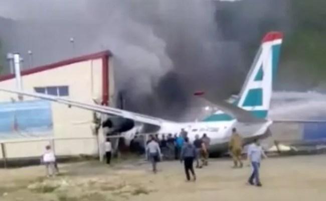 Russia Plane Crash Moment Jet Veers Off Runway Killing