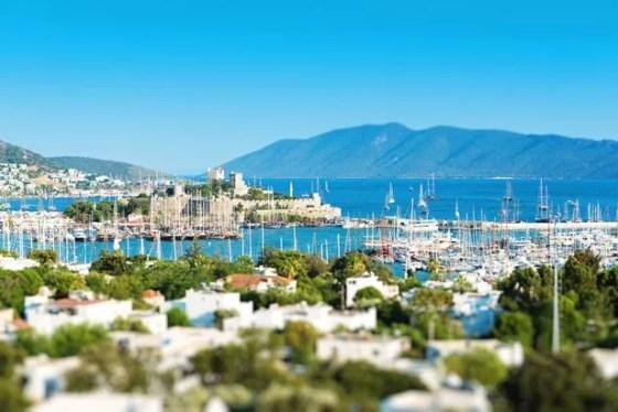 Γενική άποψη του κάστρου και του λιμανιού της Αλικαρνασσού.  Πολύ διάσημο μέρος της Τουρκίας.