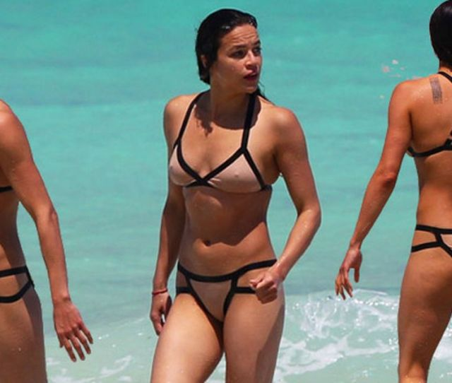 Michelle Rodriguez In Nude Cut Out Bikini Looking Hot In Miami Mirror Online