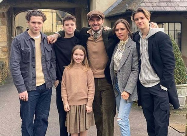 Victoria and David Beckham and family