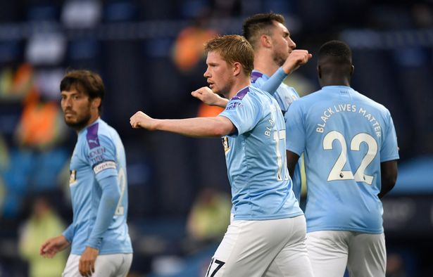 Kevin De Bruyne scored City's second in their 3-0 win over Arsenal