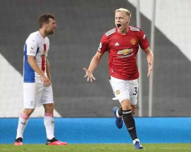 Donny van de Beek celebrates scoring for Manchester United