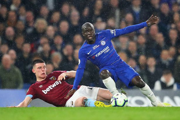 Rice (L) is still a big target for Chelsea but it could force Kante out