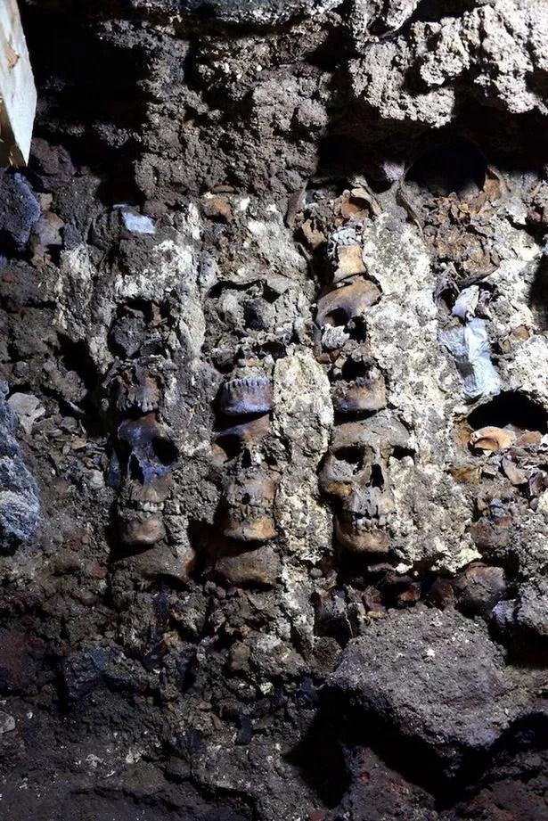The Huei Tzompantli is a tower or circular wall of human skulls 4.7 meters in diameter