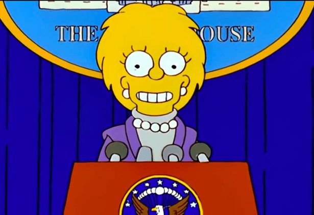 When Lisa Simpson entered the White House she was dressed in an outfit almost identical to one worn by current VP Kamala Harris