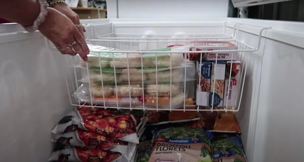 Food inside Jeni Bonell's freezer