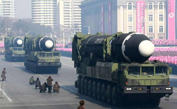 A Hwasong-15 ballistic missile during a military parade to mark the 70th anniversary of the Korean People's Army at Kim Il Sung Square in Pyongyang