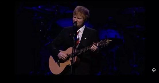 Ed Sheeran suffocates as he performs live at the memorial of his late friend Michael Gudinski