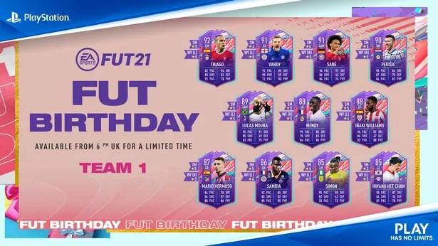 The confirmed FIFA 21 FUT Birthday Team 1