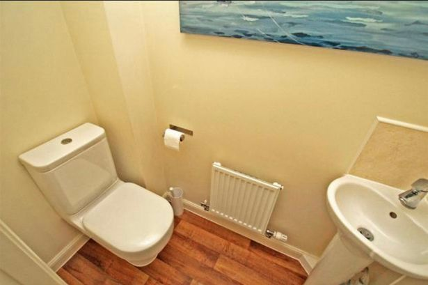 The bathroom photographed before