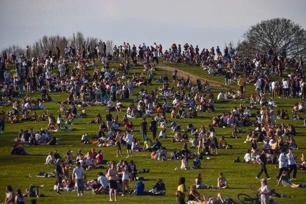 Crowds gather on Primrose Hill