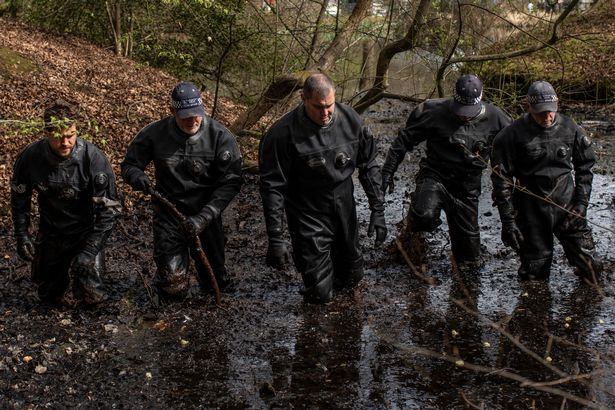 Police search teams search a pond in Epping Forest on April 01, 2021 in Epping, England. Richard Okorogheye