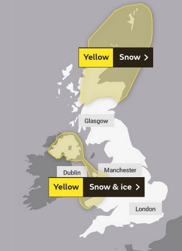 Weather warnings map for the UK