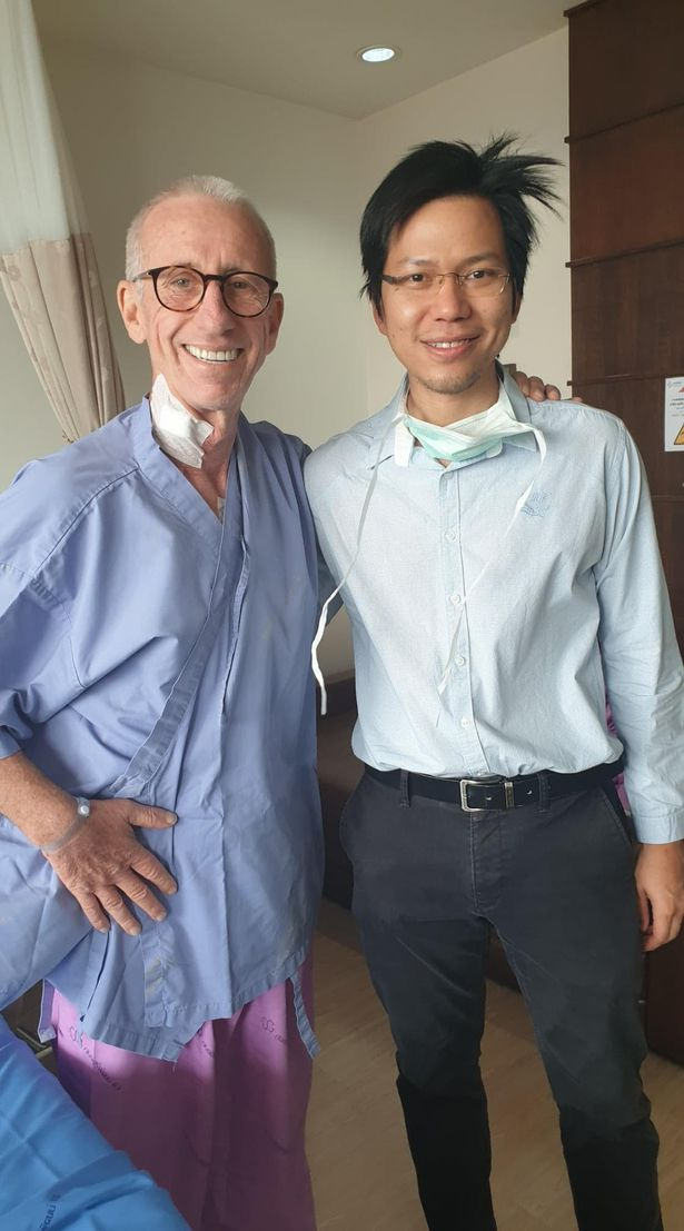 Andy with one of the doctors treating him