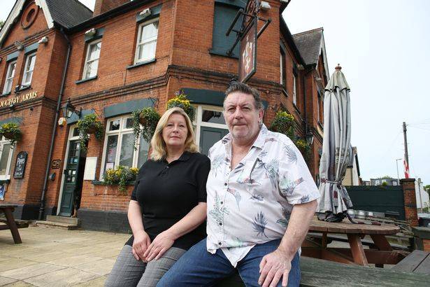 Rick Robinson and wife Lysa outside the Willoughby Arms pub in Kingston upon Thames