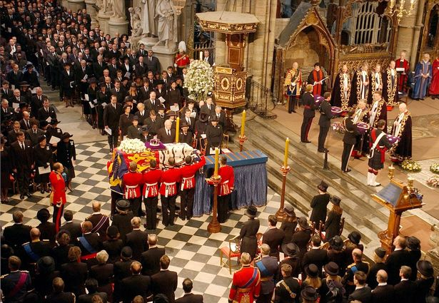 The coffin of Queen Elizabeth the Queen Mother is placed on catafalque at Westminster Abbey