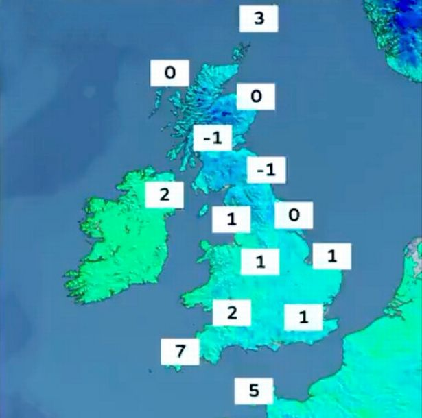 Temperature map of the UK today