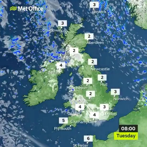 A temperature map for Tuesday morning for the UK