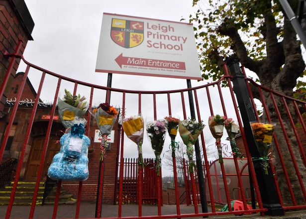 Floral tributes left at the school gates