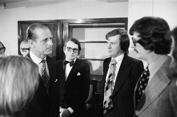 The Duke of Edinburgh visiting the offices of the Daily Mirror in February 1976