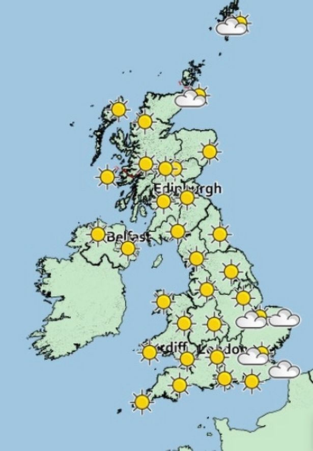 A weather map of the UK