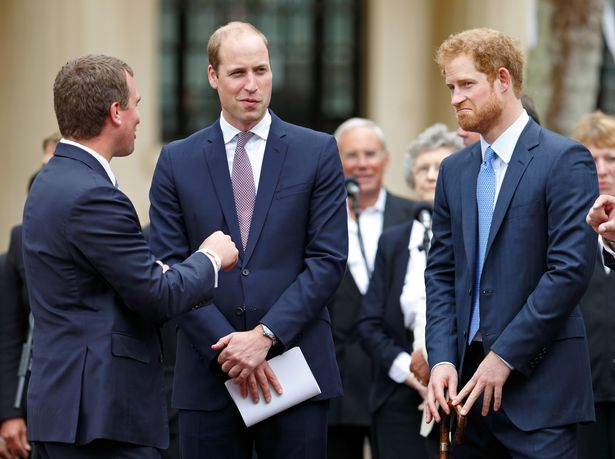 Peter Phillips, Prince William, Duke of Cambridge and Prince Harry attend 'The Patron's Lunch' celebrations to mark Queen Elizabeth II's 90th birthday