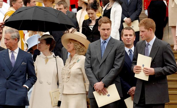 Charles, Prince of Wales, Princess Anne, Camilla, Duchess of Cornwall, Prince William, Peter Phillips and Prince Harry stand on the steps of St. George's Chapel, Windsor, following the Service of Thanksgiving for the Queen's 80th birthday on April 23, 2006