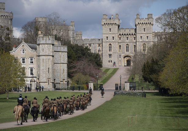 The King's Troop, Royal Horse Artillery prepares for Prince Philip's funeral at Windsor Castle