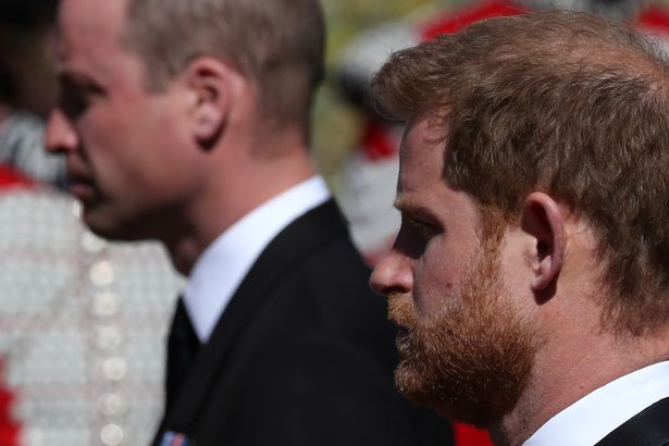 Prince Harry, Duke of Sussex, looks on during the funeral of Britain's Prince Philip