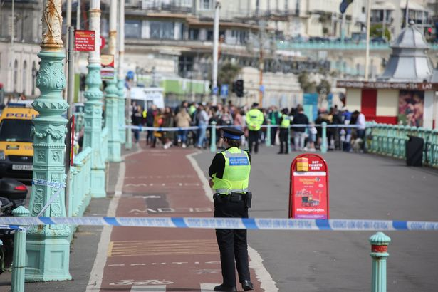 An area of Brighton Beach sealed off by police