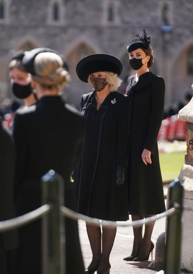 Camilla, Duchess of Cornwall and Catherine, Duchess of Cambridge arrive for Prince Philip's funeral