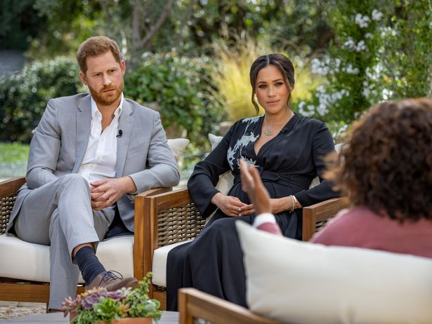 Prince Harry and Meghan Markle during their Oprah Winfrey interview