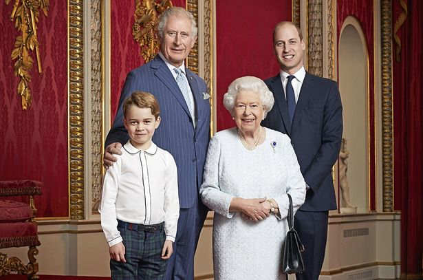 This new portrait of Queen Elizabeth II, the Prince of Wales, the Duke of Cambridge and Prince George has been released on January 3, 2020 to mark the start of a new decade