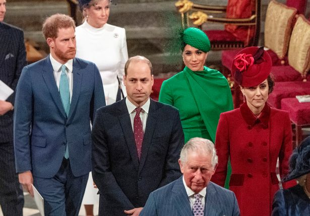 Duke and Duchess of Sussex, the Duke and Duchess of Cambridge with the Prince of Wales during the Commonwealth Service at Westminster Abbey, London on Commonwealth Day