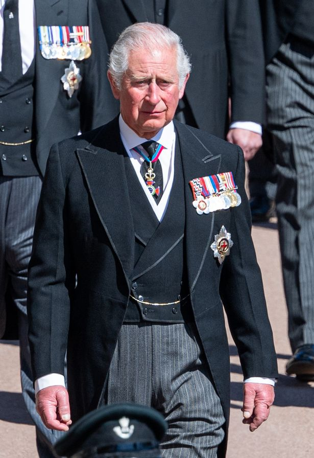 Prince Charles, Prince of Wales during the funeral of Prince Philip, Duke of Edinburgh on April 17, 2021