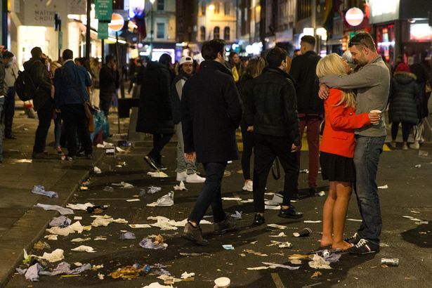 Soho was also packed with punters last night after a long day of drinking