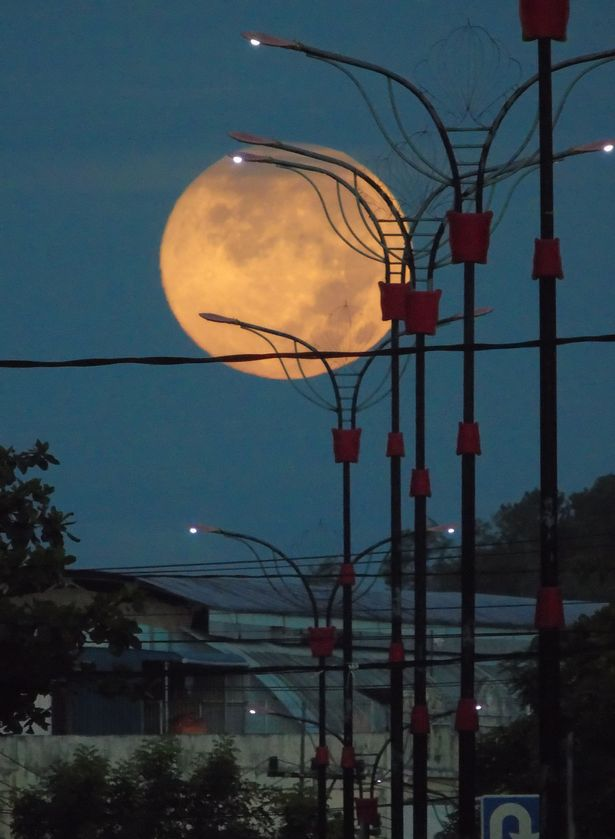 A view of Perigee Supermoon seen in Bintan island, Indonesia on April 8, 2020.