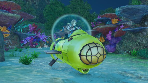A character pilots an underwater vehicle